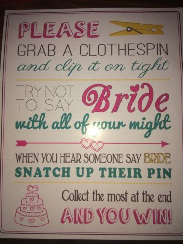 bridal shower clothespin game instruction sheet decoration new pink white blue