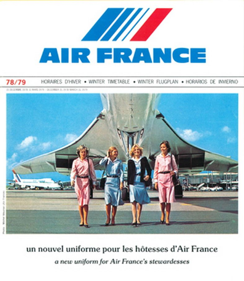 Air France Vintage Airline Timetable Advertising the Concorde from - new air france world map flight routes c.1948