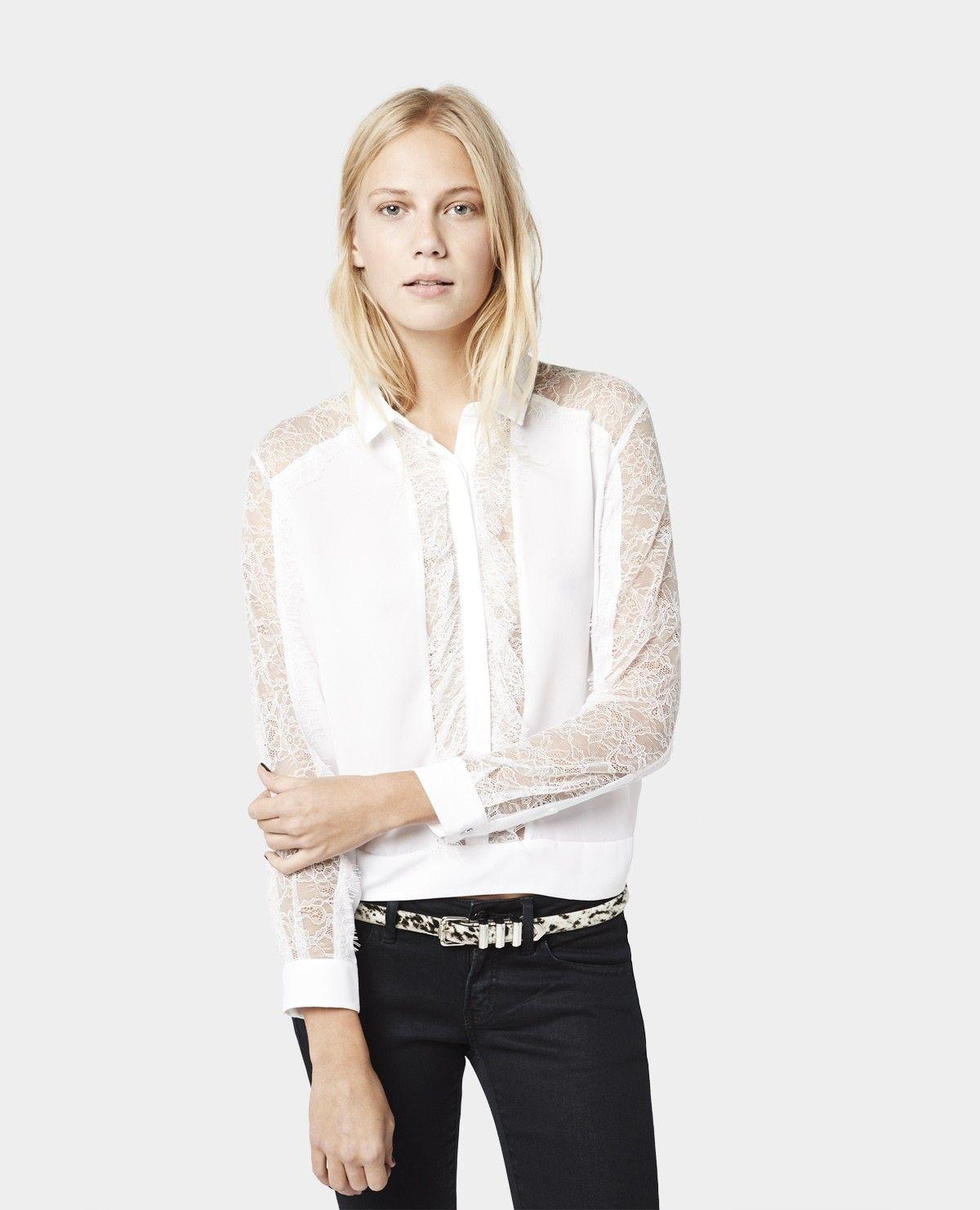Chemise à volant et manches en dentelle - Chemises - Femme - The Kooples