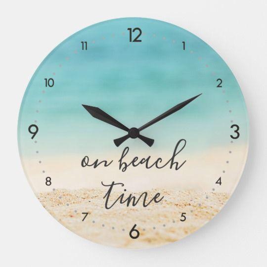 Aqua Ocean + Sandy #Beach on beach time Coastal Large Clock | Zazzle.com #beachcottageideas