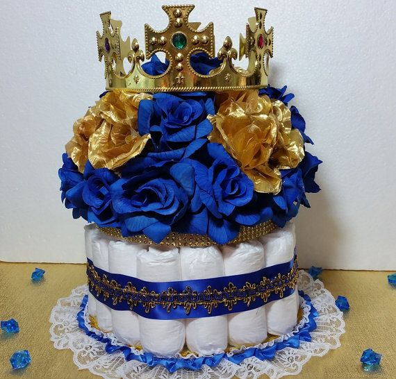 Crowns For Baby Shower: DIAPER CAKE Centerpiece With Crown For Royal Prince Baby