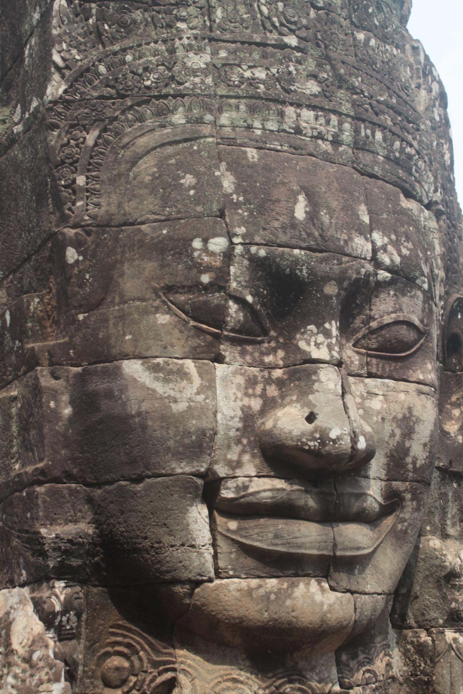 Una de las muchas caras que caracteriza el templo de Bayon, el que más nos gustó