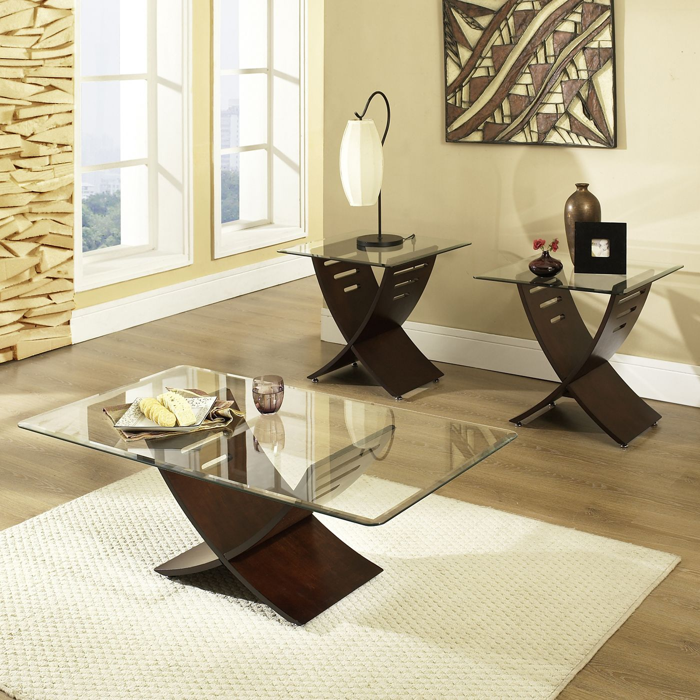 Steve Silver pany CA125 Cafe 3 Piece Occasional Table Set ATG