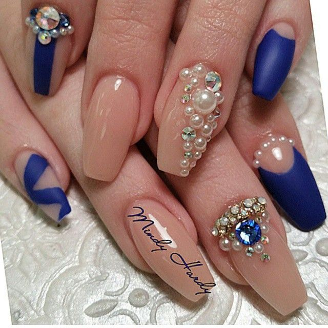Coffin nails with a navy blue & nude combination - Blue And Charmes By @mindyhardy On Instagram Nailed-it