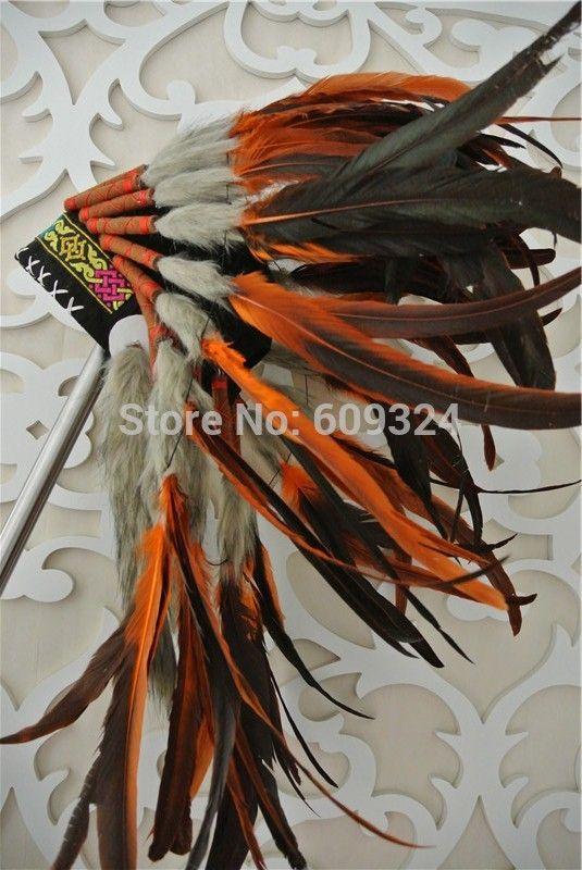 e11877c9f4136 Cheap Indio Tocado De Plumas de color naranja y negro hecho a mano Indio  tocado De