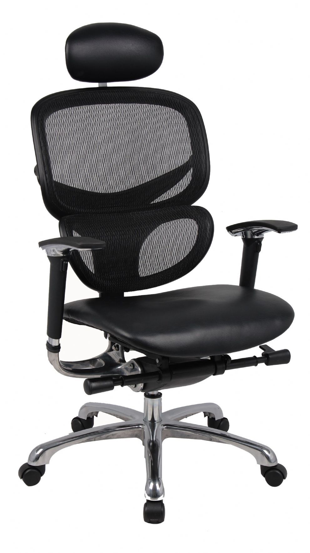 wave ergonomic mesh office chair with leather seat and leather