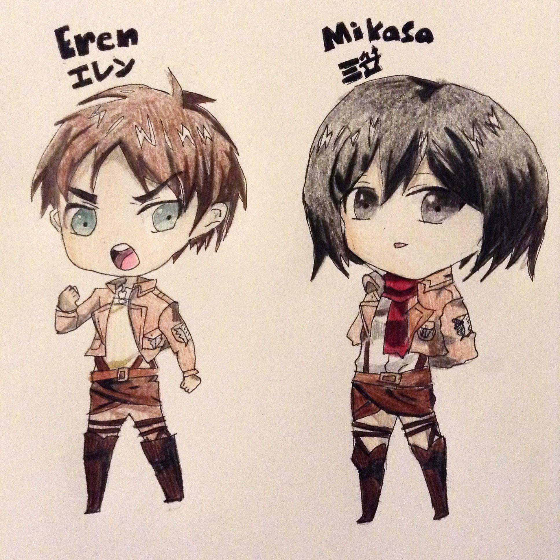 Eren and mikasa drawing i did eren mikasa attackontitan