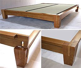 Platform bed asian close up of bed post this japanese style platform bed is constructed - Japanese style platform bed plans ...