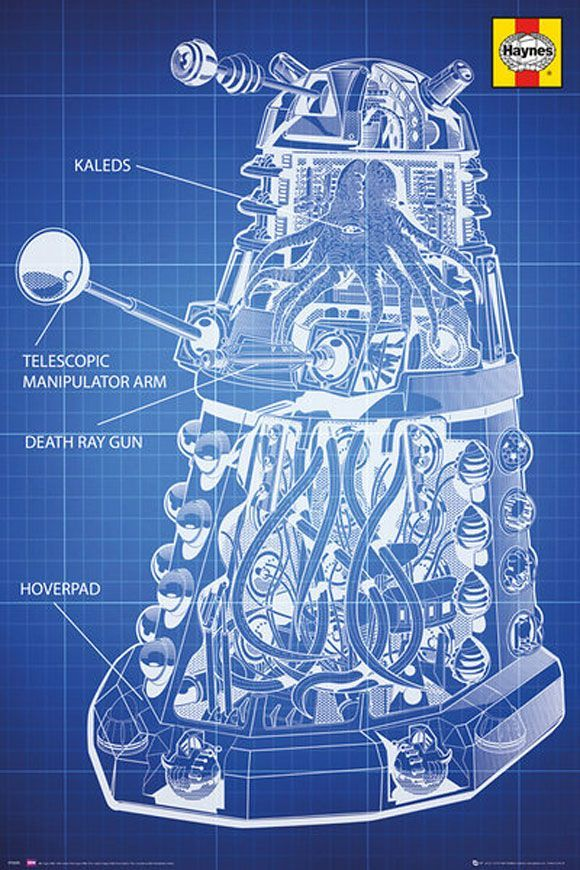 Doctor Who Haynes Dalek Blueprint Poster - This is a very - new blueprint program online
