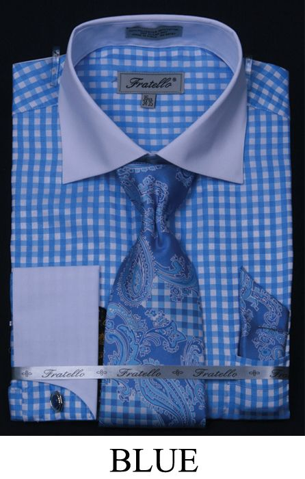Fratello Mens French Cuff Dressshirt Tie Hanky And Cuff