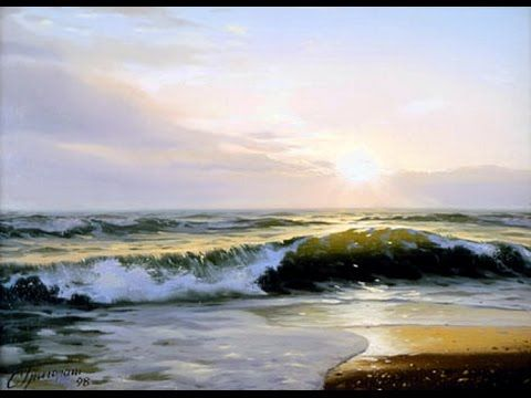 How to paint waves and sunset | Paint with Igor saharov - YouTube