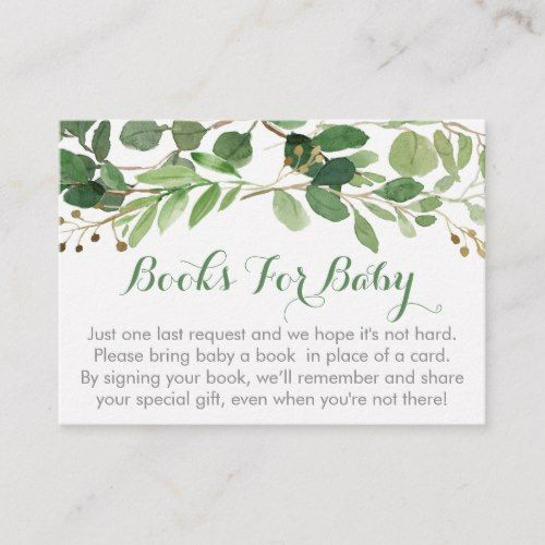 Rustic Green Floral Baby Shower Book Request Cards | Zazzle.com