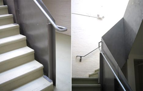 Newick Architects Retrofitted Solution For An Early 20th Century Concrete Staircase Involves 1 8 Steel Plate And Seam Stair Railing Concrete Staircase Stairs