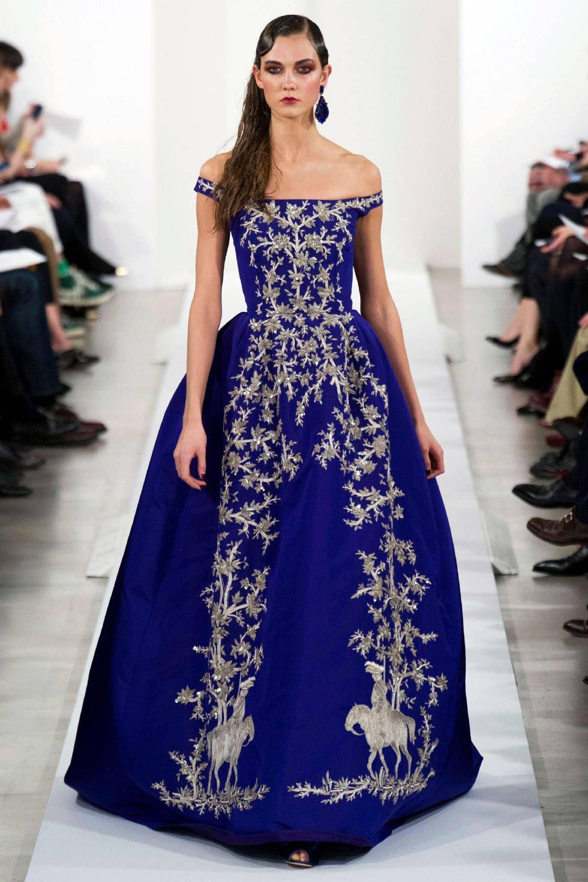 Oscar de la Renta finale look, blue and silver embroidery