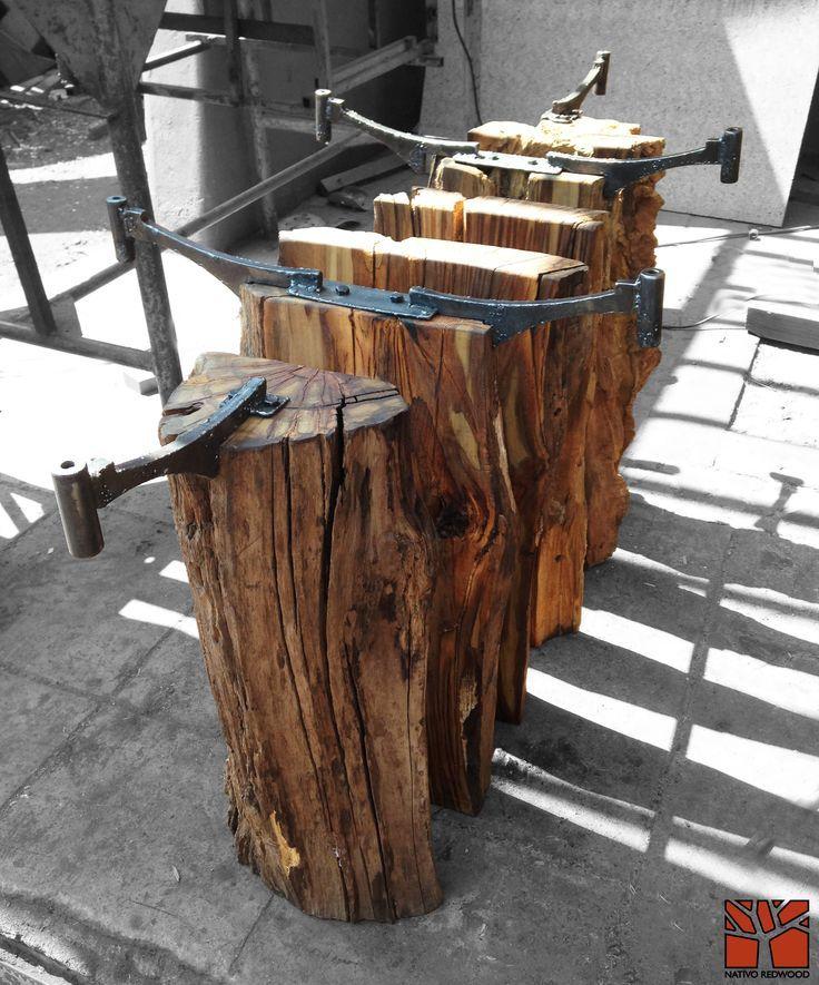 Nativo redwood mesa comedor con base de tronco de madera for Bar madera nativa