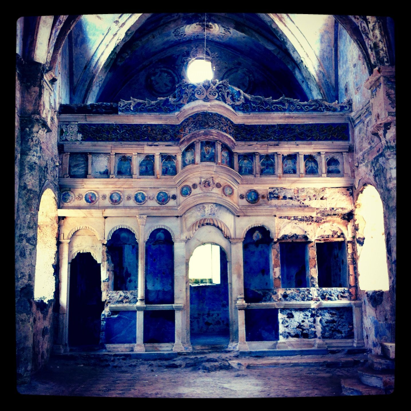 Old #blue #church In Abandoned City Of Kayakoy, Turkey