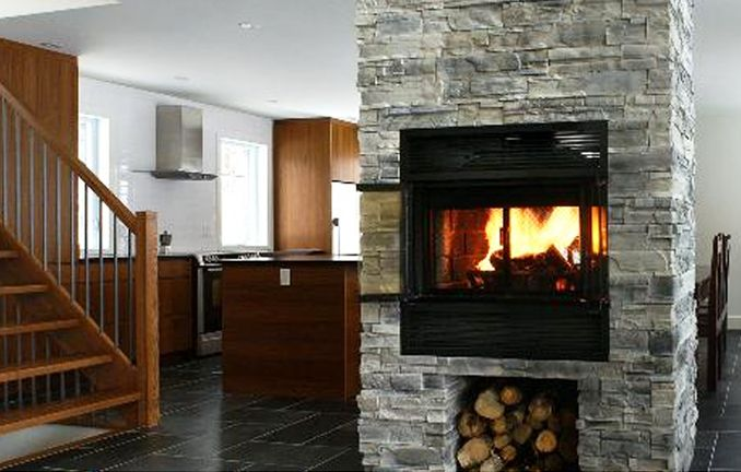 What A Great Look This Valcourt See Through Wood Burning Fireplace Is From Tate Builders Supply Energy Wood Fireplace Fireplace Doors Wood Burning Fireplace