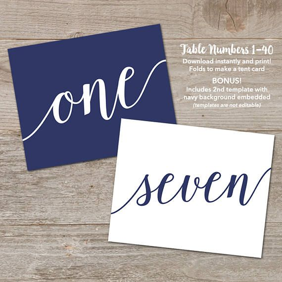 Navy Table Number Tents by MyCrayonsDesign // Printable Table Number Template & Navy Table Number Tents by MyCrayonsDesign // Printable Table ...