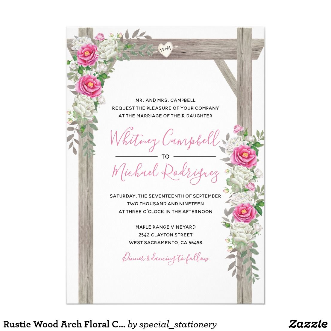 Rustic Chic Floral WEDDING INVITATION Roses Flowers Wood Arch Chic