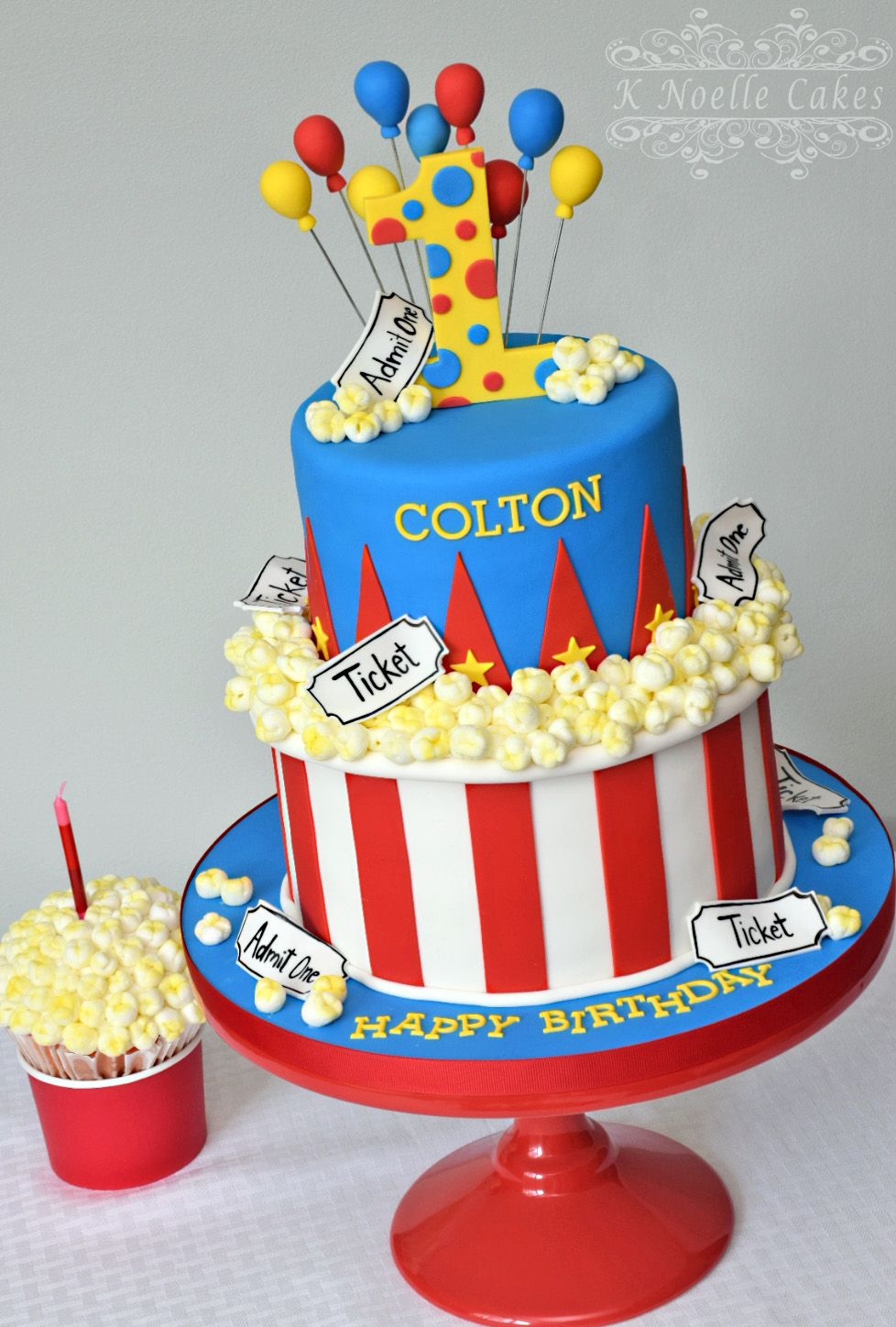 Amazing Carnival Theme With Popcorn By K Noelle Cakes Circus Birthday Personalised Birthday Cards Veneteletsinfo