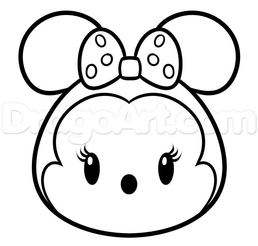 tsum coloring pictures to color | Draw Tsum Tsum Minnie Mouse, Step ...
