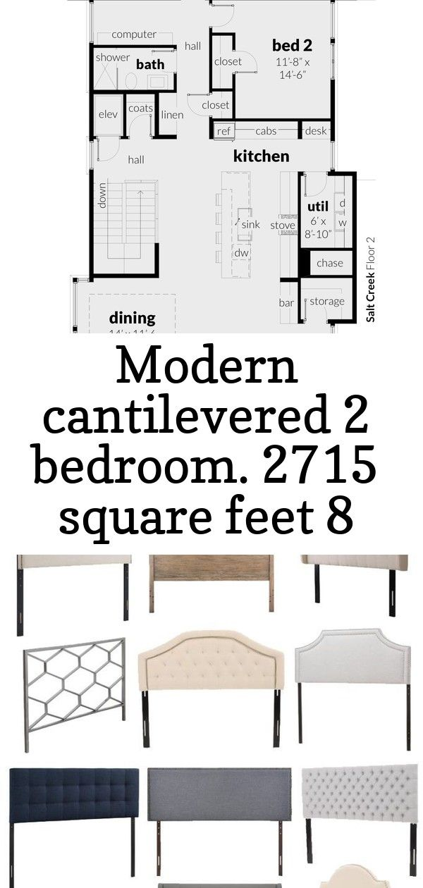 Modern cantilevered 2 bedroom 2715 square feet 8 Floor 2 Salt Creek House Plan by Tyree House Plans A collection of stylish and affordable headboards Loving each of these...