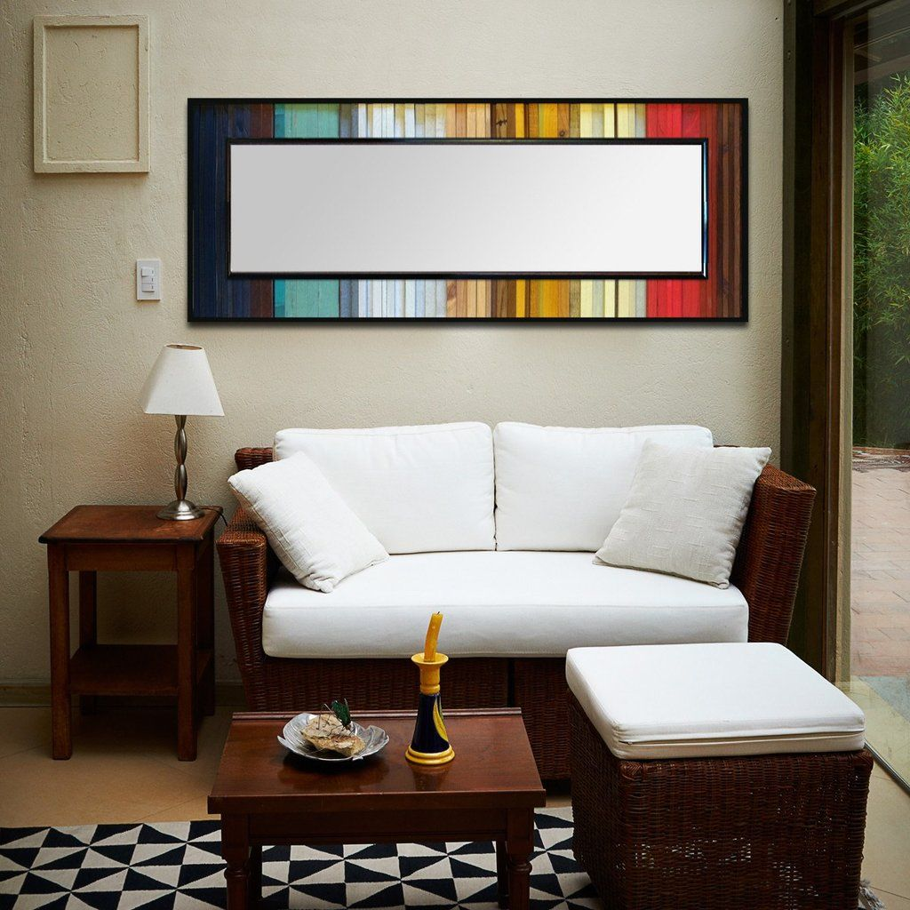 Gradient reflection wood wall art leaner mirror floor mirror