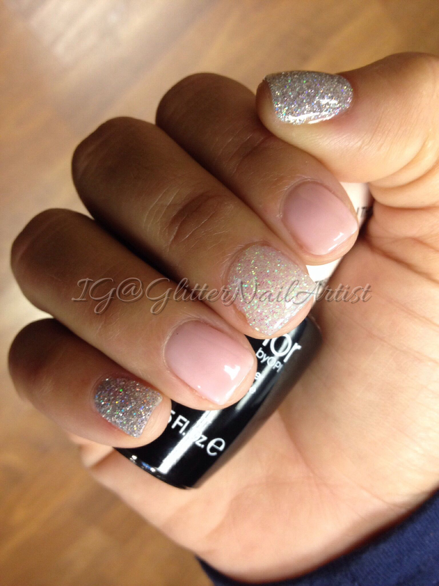 Nails: Short, gel manicure, clear with just a touch of glitter ...