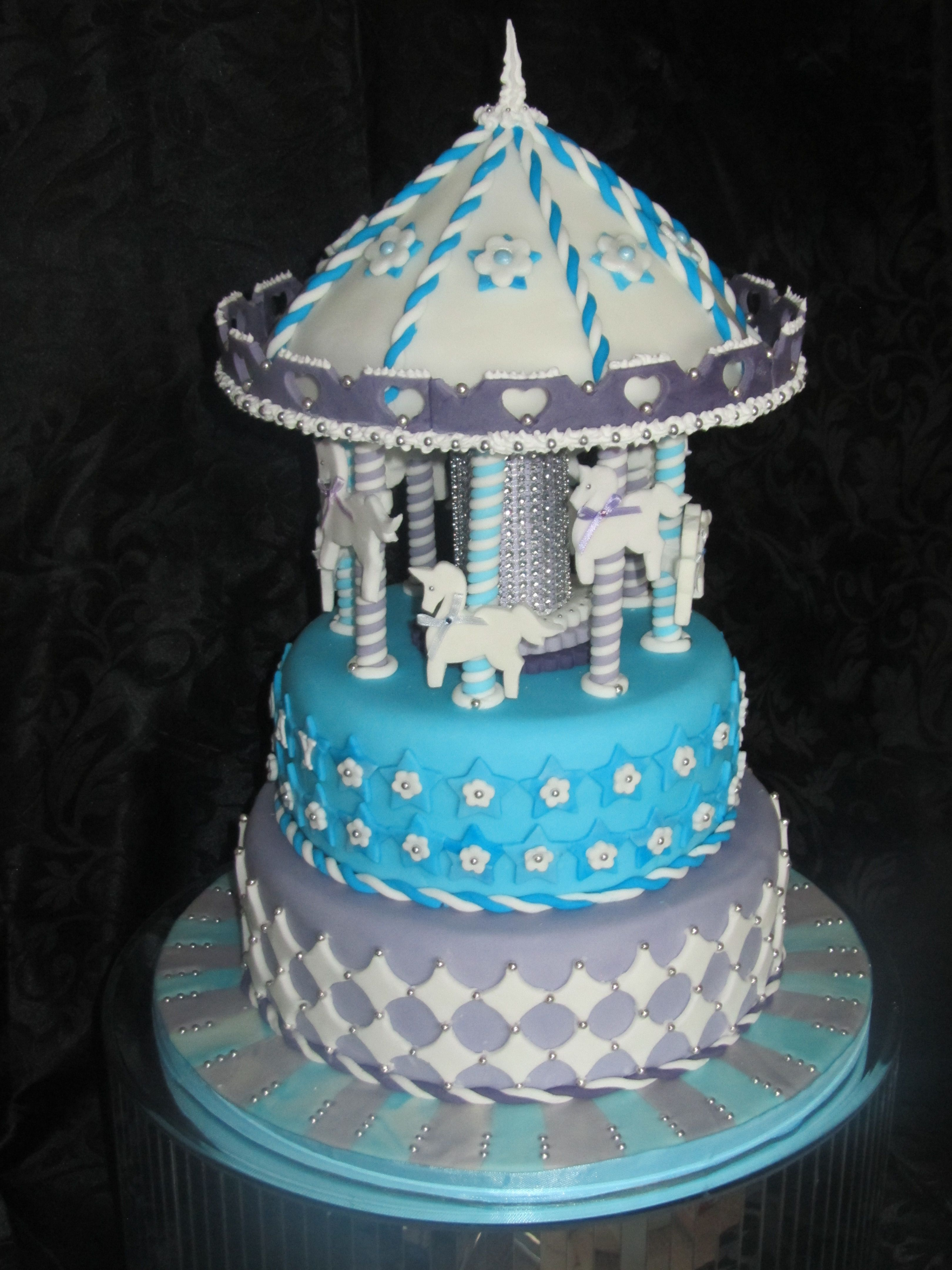 blue carousel cakecastle cakes, @cakes_castle 07764488868