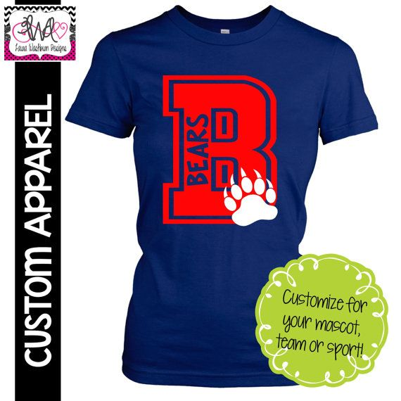 CUSTOM APPAREL: Custom Ladies FITTED Block Letter School Spirit T-Shirt