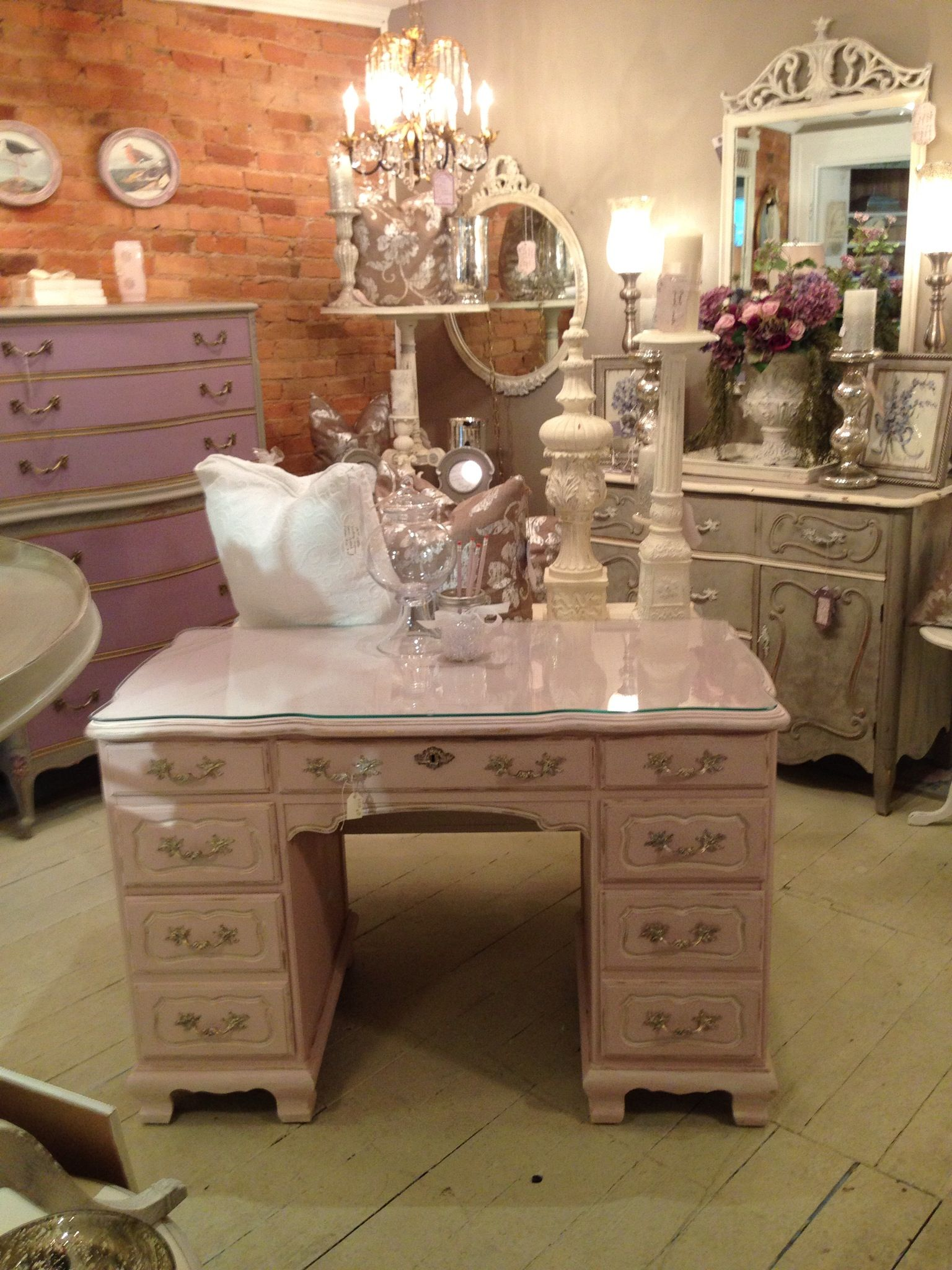 """(SOLD) Our student had trouble letting go of this one!..Annie Sloan Chalk Paint® """"Antoinette"""" desk"""