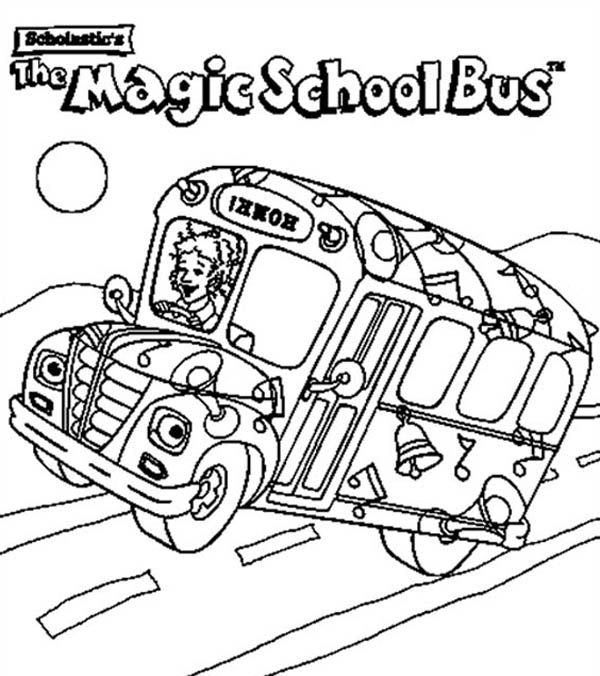 School Bus The Magic School Bus Is On Action Coloring Page The