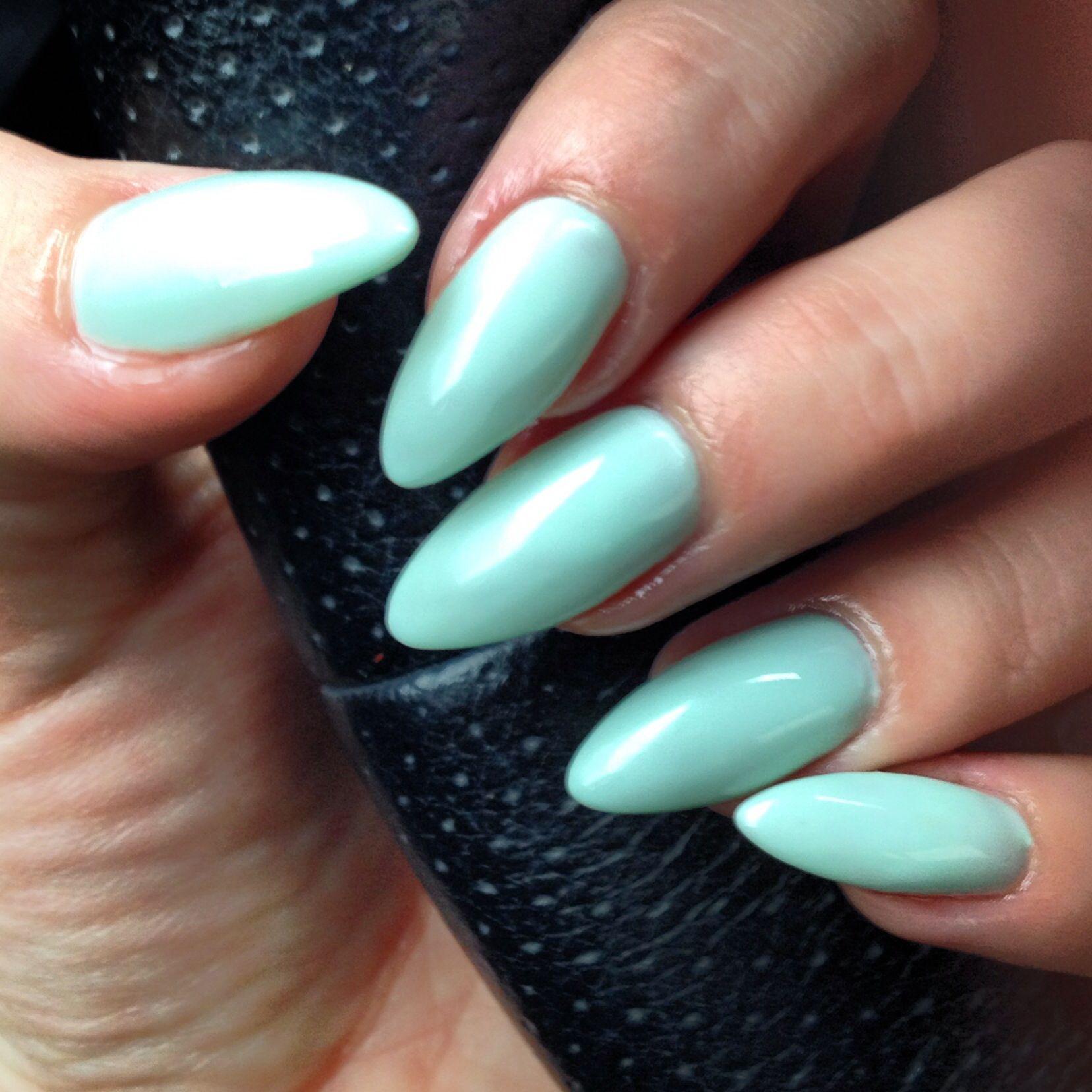 Stiletto claws , gel nails , no-chip manicure , pastel mint | Nails ...