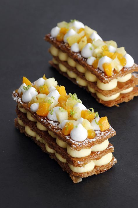 Tropical Mille Feuille is part of Desserts - Tropical Mille Feuille combining passion fruit, mango and coconut cream layered in 3 golden caramelized puff pastry  This dessert will make everyone say WOW