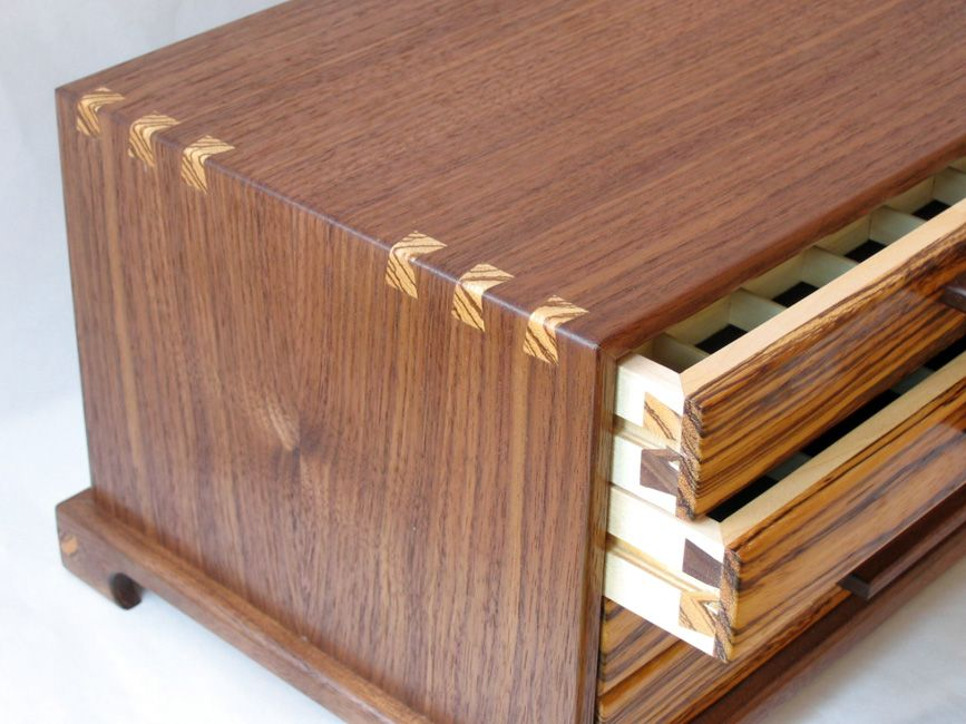Handcrafted Jewelry Boxes Black Walnut and Zebrawood Highland