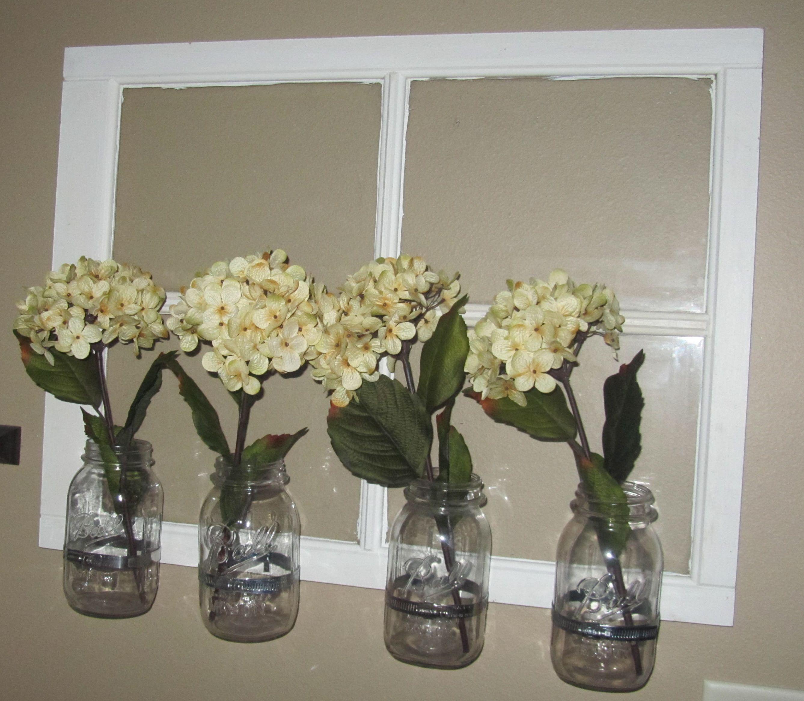 Old window mason jars craft ideas pinterest for Old window craft ideas