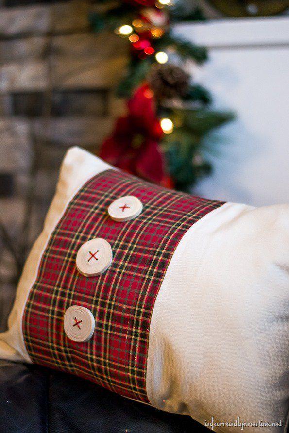 Tartan Plaid Pillow With Wood Slice Button Embellishments