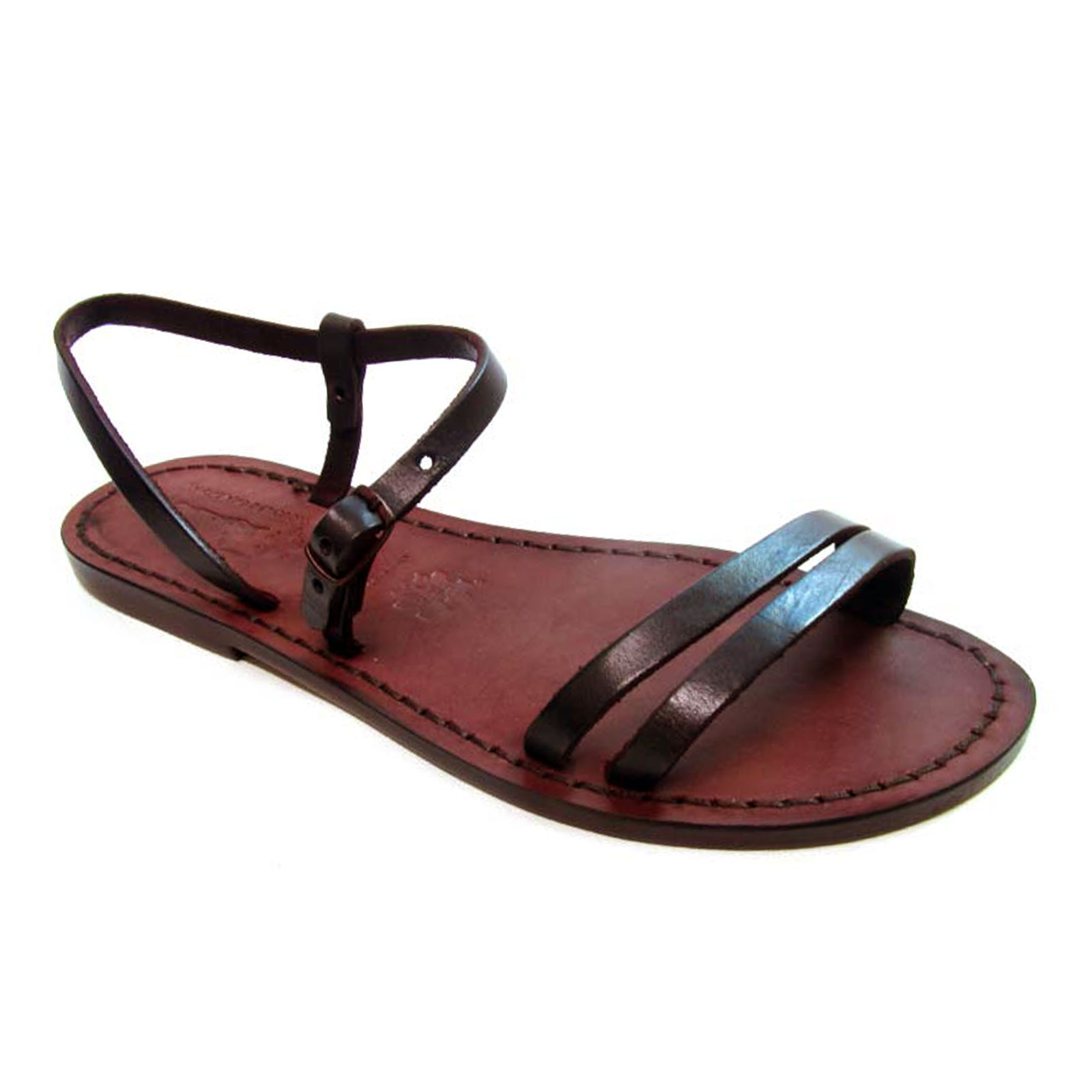 432cc8b0634c4e Handmade dark brown flat sandals for women in real greased vachetta leather  with leather or rubber sole made by experts in Italy in the best tradition  of ...