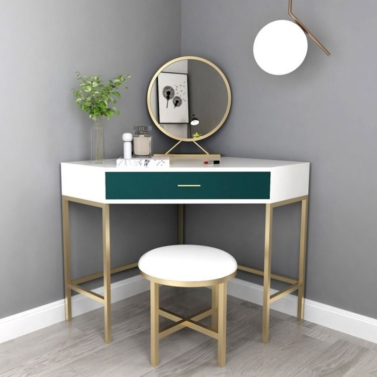 Corner Makeup Vanity With Drawer Modern Makeup Vanity Set Dressing Table With Mirror Stool White White Green In 2020 Beautiful Bathroom Vanity Vanity Decor Dressing Table Mirror