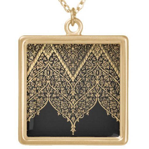 Gold Black Indian Motif Vintage Design Pattern Custom Necklace  #vintage #indian #pattern #gorgeous