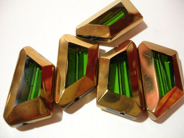 """4 Green Gold Edged Asymmetrical Trapezoid Glass Beads - $2 start bid at the Tophatter.com """"Supplies with a Surprise"""" LIVE auction. Come pre-shop until the auction starts at 10:00p.m. and get your bids in on items in standby!"""