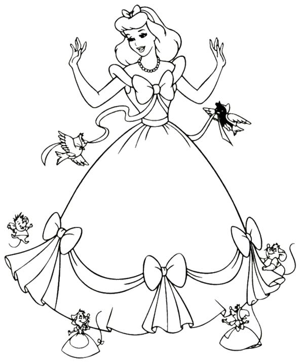 Cinderella Dress Mice Coloring Page With Images Cinderella
