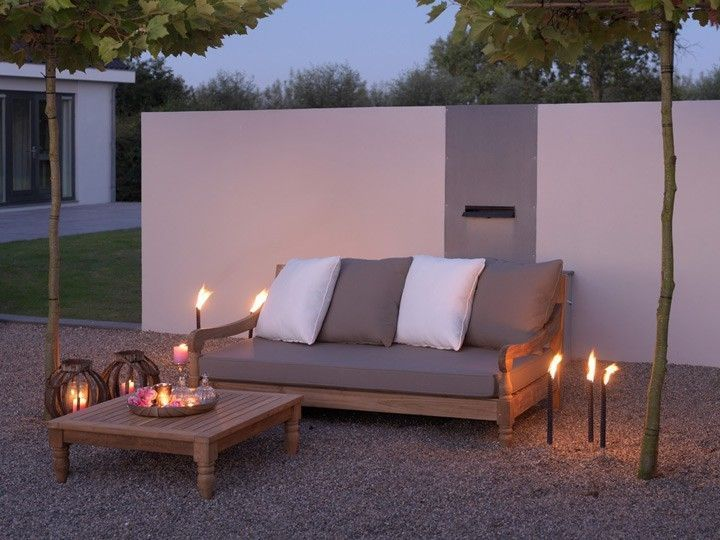 kawan lounge garten outdoor sofa teak recycled mit kissen With katzennetz balkon mit teak garden