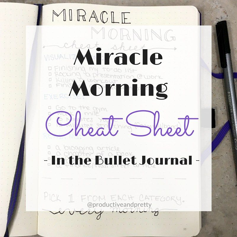 Miracle Morning Cheat Sheet (In the Bullet Journal)