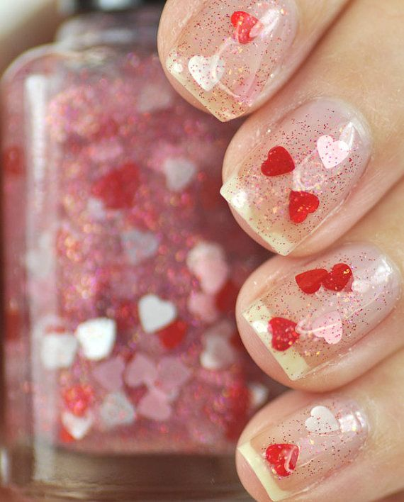 Smitten Red and Pink Heart Glitter Nail Polish Top Coat 15ml (.5oz ...