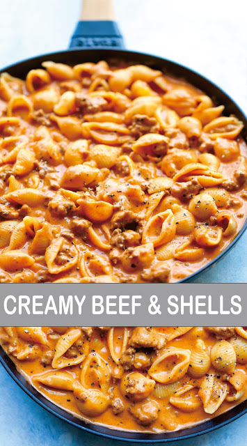 Photo of CREAMY BEEF AND SHELLS | Simple Recipes