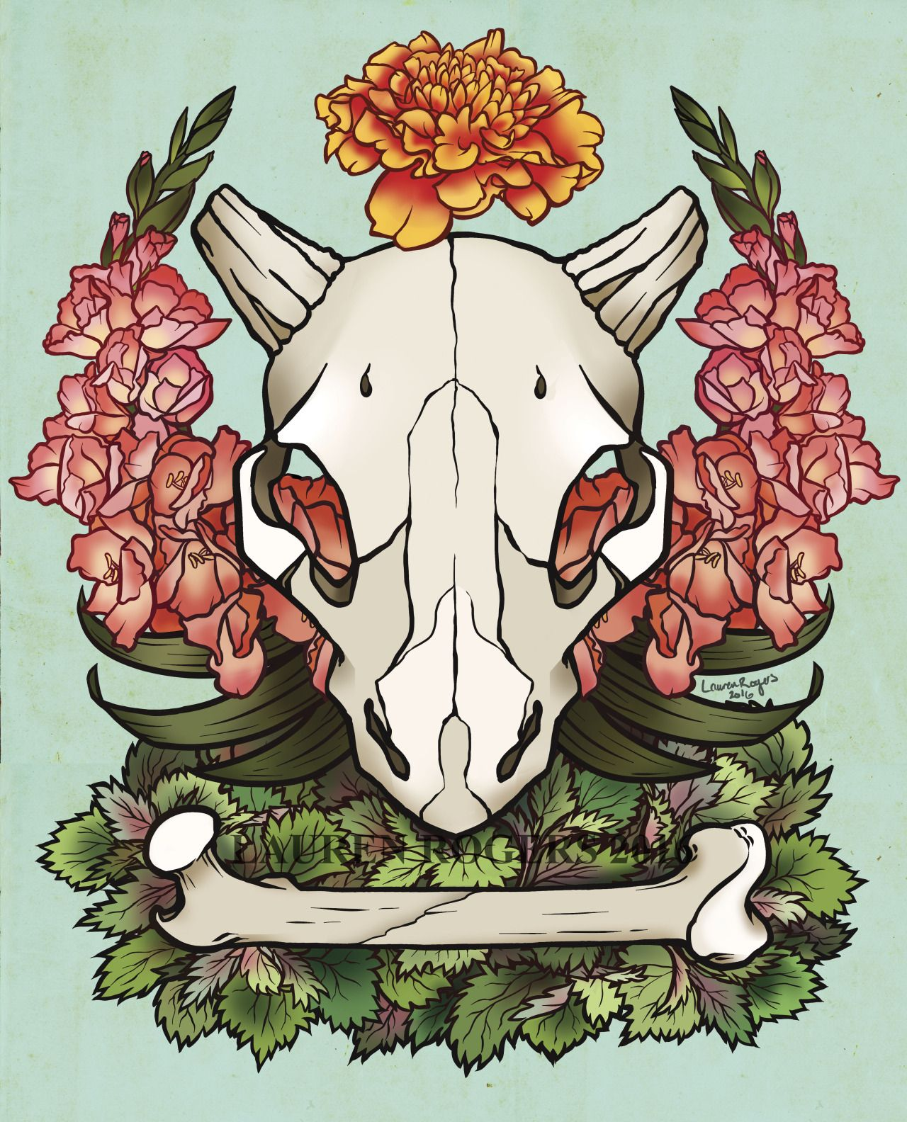 Cubone! one of my all time favs. From what I understand Marigolds are symbolic of grief but also the sun, rising every day. Gladiolus is for determination and strength, and stinging nettle can offer...