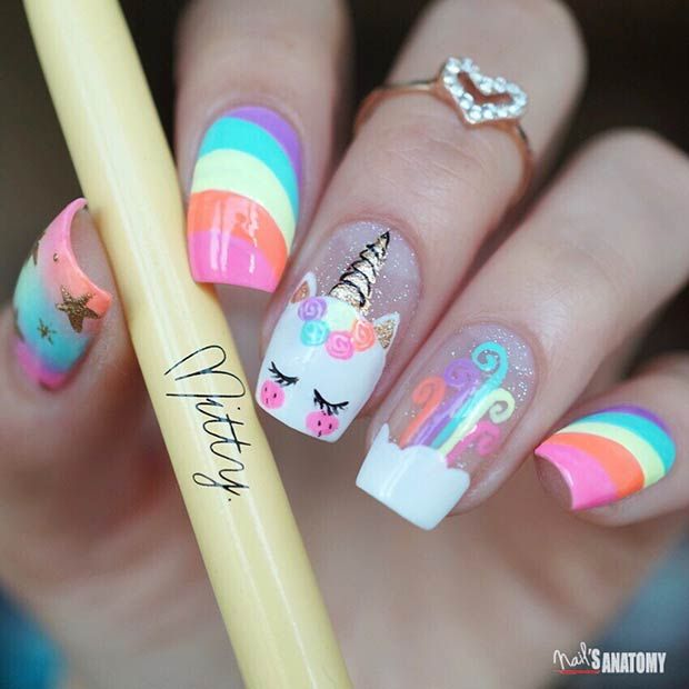 43 Magical Unicorn Nails That Are Taking Over Instagram Unicorn Nails Designs Girls Nails Unicorn Nail Art