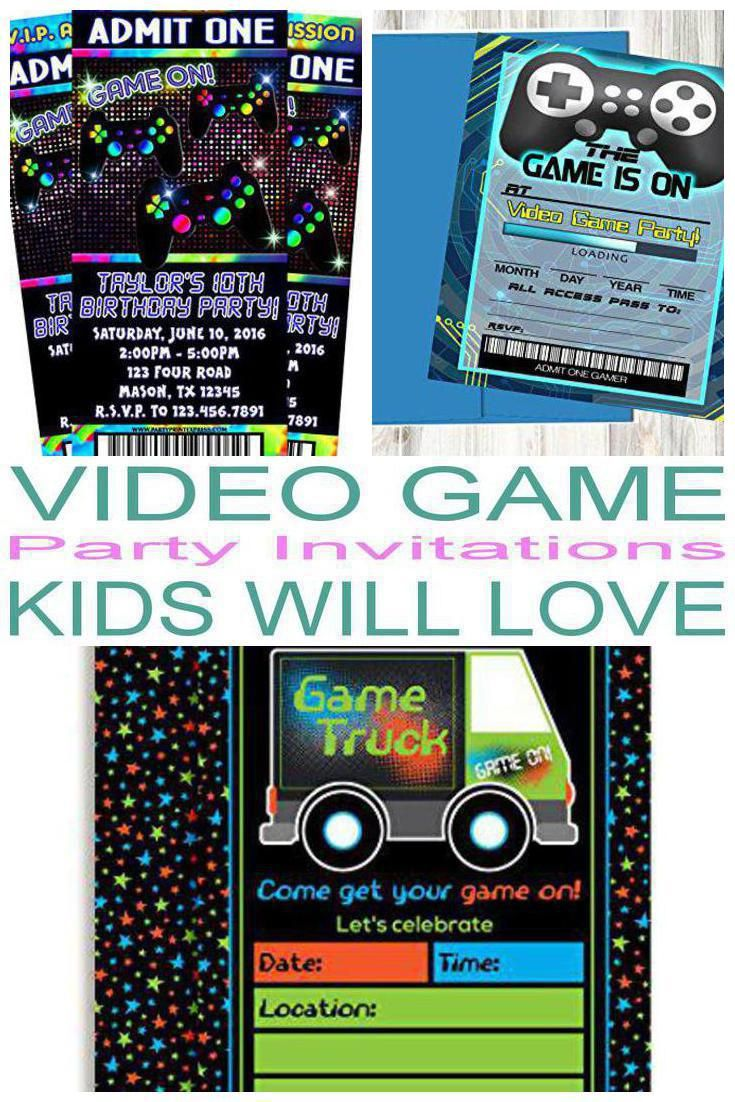 Top Video Game Party Invitations Kids Will Love | Video game party ...