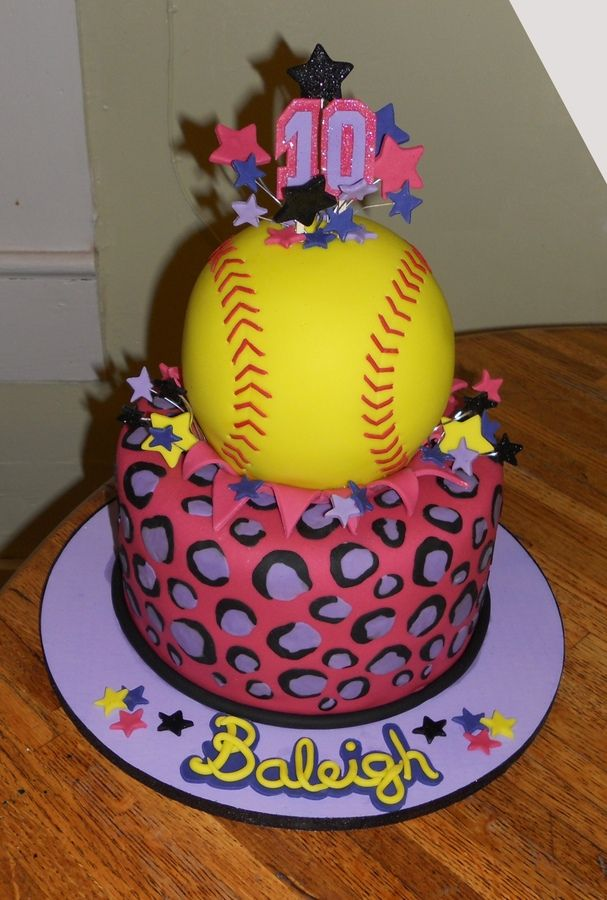 Peachy Softball Birthday Cake Softball Birthday Cakes Softball Personalised Birthday Cards Paralily Jamesorg